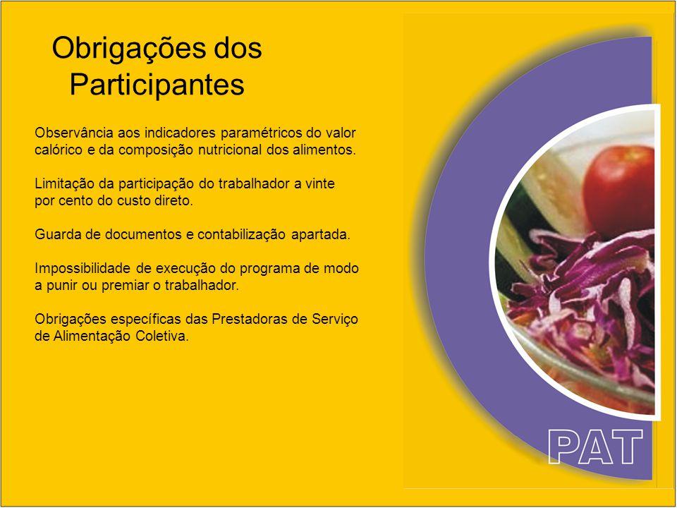 Obrigações dos Participantes Observância aos indicadores paramétricos do valor calórico e da composição nutricional dos alimentos. Limitação da partic