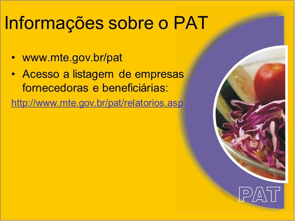 Informações sobre o PAT www.mte.gov.br/pat Acesso a listagem de empresas fornecedoras e beneficiárias: http://www.mte.gov.br/pat/relatorios.asp