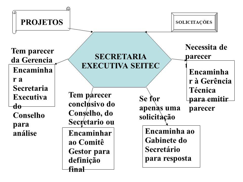 PROJETOS SOLICITAÇÕES SECRETARIA EXECUTIVA SEITEC Tem parecer da Gerencia Técnica Encaminha r a Secretaria Executiva do Conselho para análise Necessit