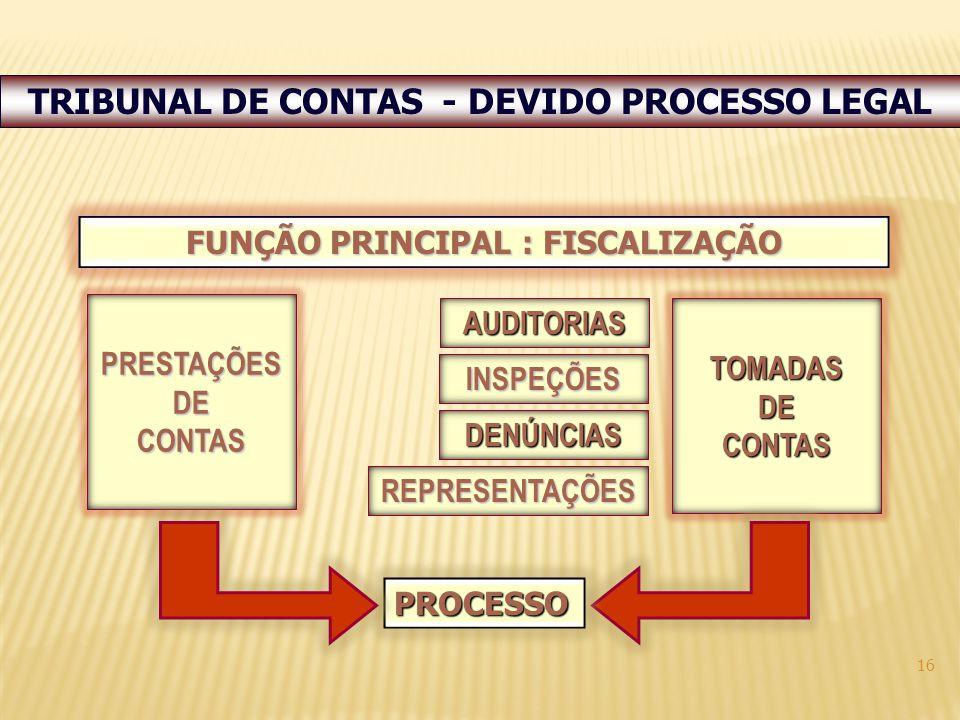 16 FUNÇÃO PRINCIPAL : FISCALIZAÇÃO PRESTAÇÕESDECONTAS TOMADASDECONTAS PROCESSO DENÚNCIAS REPRESENTAÇÕES AUDITORIAS INSPEÇÕES TRIBUNAL DE CONTAS - DEVIDO PROCESSO LEGAL