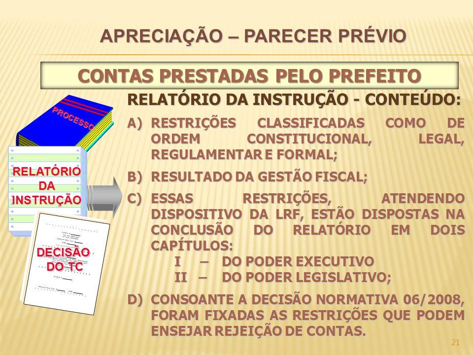 21 PROCESSO RELATÓRIODAINSTRUÇÃO DECISÃO DO TC RELATÓRIO DA INSTRUÇÃO - CONTEÚDO: A)RESTRIÇÕES CLASSIFICADAS COMO DE ORDEM CONSTITUCIONAL, LEGAL, REGULAMENTAR E FORMAL; B)RESULTADO DA GESTÃO FISCAL; C)ESSAS RESTRIÇÕES, ATENDENDO DISPOSITIVO DA LRF, ESTÃO DISPOSTAS NA CONCLUSÃO DO RELATÓRIO EM DOIS CAPÍTULOS: I – DO PODER EXECUTIVO II – DO PODER LEGISLATIVO; D)CONSOANTE A DECISÃO NORMATIVA 06/2008, FORAM FIXADAS AS RESTRIÇÕES QUE PODEM ENSEJAR REJEIÇÃO DE CONTAS.