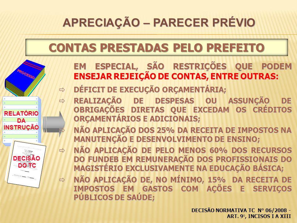 22 PROCESSO RELATÓRIODAINSTRUÇÃO DECISÃO DO TC EM ESPECIAL, SÃO RESTRIÇÕES QUE PODEM ENSEJAR REJEIÇÃO DE CONTAS, ENTRE OUTRAS: DÉFICIT DE EXECUÇÃO ORÇAMENTÁRIA; DÉFICIT DE EXECUÇÃO ORÇAMENTÁRIA; REALIZAÇÃO DE DESPESAS OU ASSUNÇÃO DE OBRIGAÇÕES DIRETAS QUE EXCEDAM OS CRÉDITOS ORÇAMENTÁRIOS E ADICIONAIS; REALIZAÇÃO DE DESPESAS OU ASSUNÇÃO DE OBRIGAÇÕES DIRETAS QUE EXCEDAM OS CRÉDITOS ORÇAMENTÁRIOS E ADICIONAIS; NÃO APLICAÇÃO DOS 25% DA RECEITA DE IMPOSTOS NA MANUTENÇÃO E DESENVOLVIMENTO DE ENSINO; NÃO APLICAÇÃO DOS 25% DA RECEITA DE IMPOSTOS NA MANUTENÇÃO E DESENVOLVIMENTO DE ENSINO; NÃO APLICAÇÃO DE PELO MENOS 60% DOS RECURSOS DO FUNDEB EM REMUNERAÇÃO DOS PROFISSIONAIS DO MAGISTÉRIO EXCLUSIVAMENTE NA EDUCAÇÃO BÁSICA; NÃO APLICAÇÃO DE PELO MENOS 60% DOS RECURSOS DO FUNDEB EM REMUNERAÇÃO DOS PROFISSIONAIS DO MAGISTÉRIO EXCLUSIVAMENTE NA EDUCAÇÃO BÁSICA; NÃO APLICAÇÃO DE, NO MÍNIMO, 15% DA RECEITA DE IMPOSTOS EM GASTOS COM AÇÕES E SERVIÇOS PÚBLICOS DE SAÚDE; NÃO APLICAÇÃO DE, NO MÍNIMO, 15% DA RECEITA DE IMPOSTOS EM GASTOS COM AÇÕES E SERVIÇOS PÚBLICOS DE SAÚDE; APRECIAÇÃO – PARECER PRÉVIO CONTAS PRESTADAS PELO PREFEITO DECISÃO NORMATIVA TC N° 06/2008 - ART.