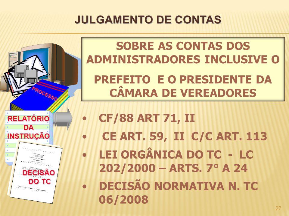 JULGAMENTO DE CONTAS 27 PROCESSO RELATÓRIODAINSTRUÇÃO DECISÃO DO TC CF/88 ART 71, II CE ART. 59, II C/C ART. 113 LEI ORGÂNICA DO TC - LC 202/2000 – AR
