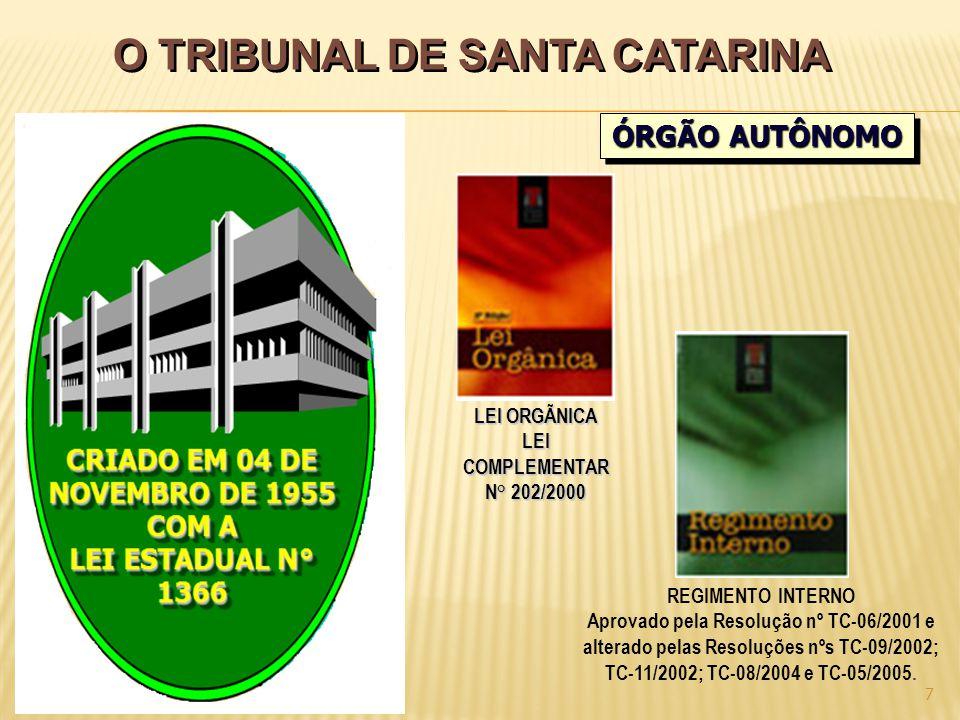 O TRIBUNAL DE SANTA CATARINA 7 ÓRGÃO AUTÔNOMO LEI ORGÃNICA LEICOMPLEMENTAR N° 202/2000 REGIMENTO INTERNO Aprovado pela Resolução nº TC-06/2001 e alterado pelas Resoluções nºs TC-09/2002; TC-11/2002; TC-08/2004 e TC-05/2005.