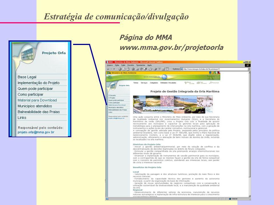 Página do MMA www.mma.gov.br/projetoorla Estratégia de comunicação/divulgação