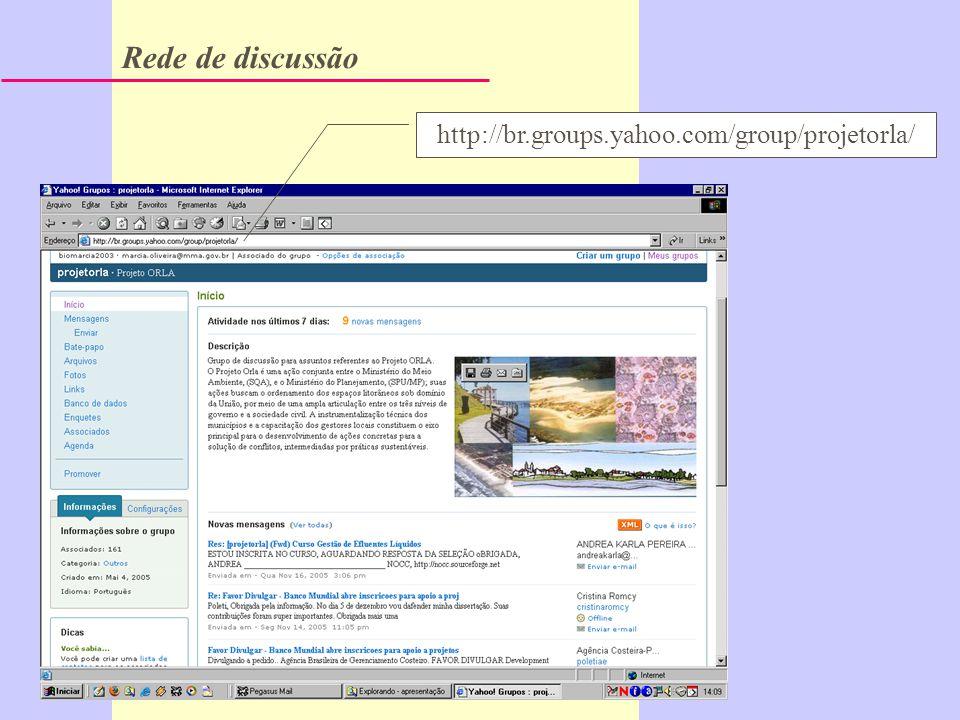 Rede de discussão http://br.groups.yahoo.com/group/projetorla/