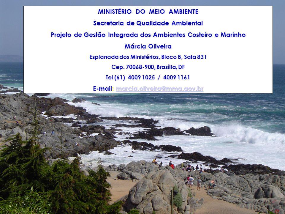 MINISTÉRIO DO MEIO AMBIENTE Secretaria de Qualidade Ambiental Projeto de Gestão Integrada dos Ambientes Costeiro e Marinho Márcia Oliveira Esplanada dos Ministérios, Bloco B, Sala 831 Cep.