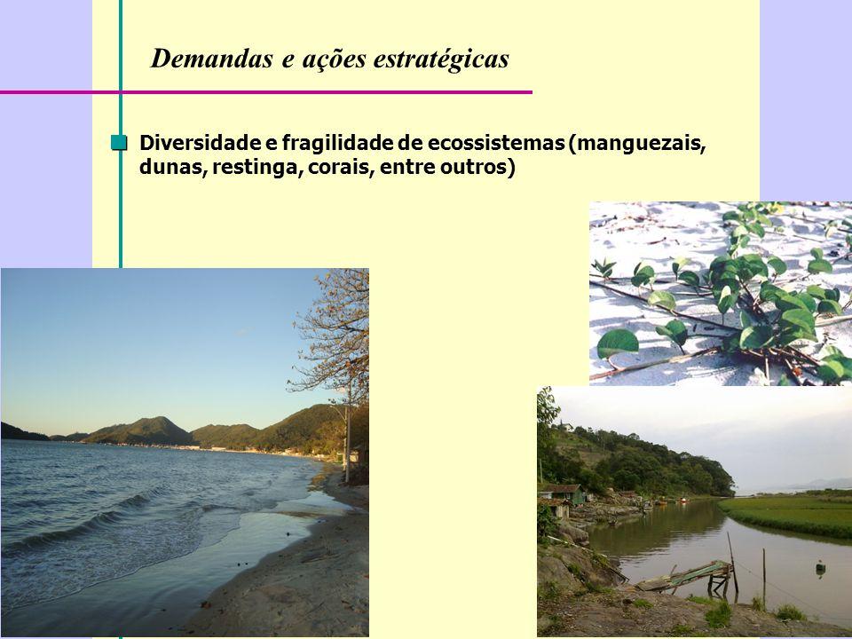 Demandas e ações estratégicas Diversidade e fragilidade de ecossistemas (manguezais, dunas, restinga, corais, entre outros)