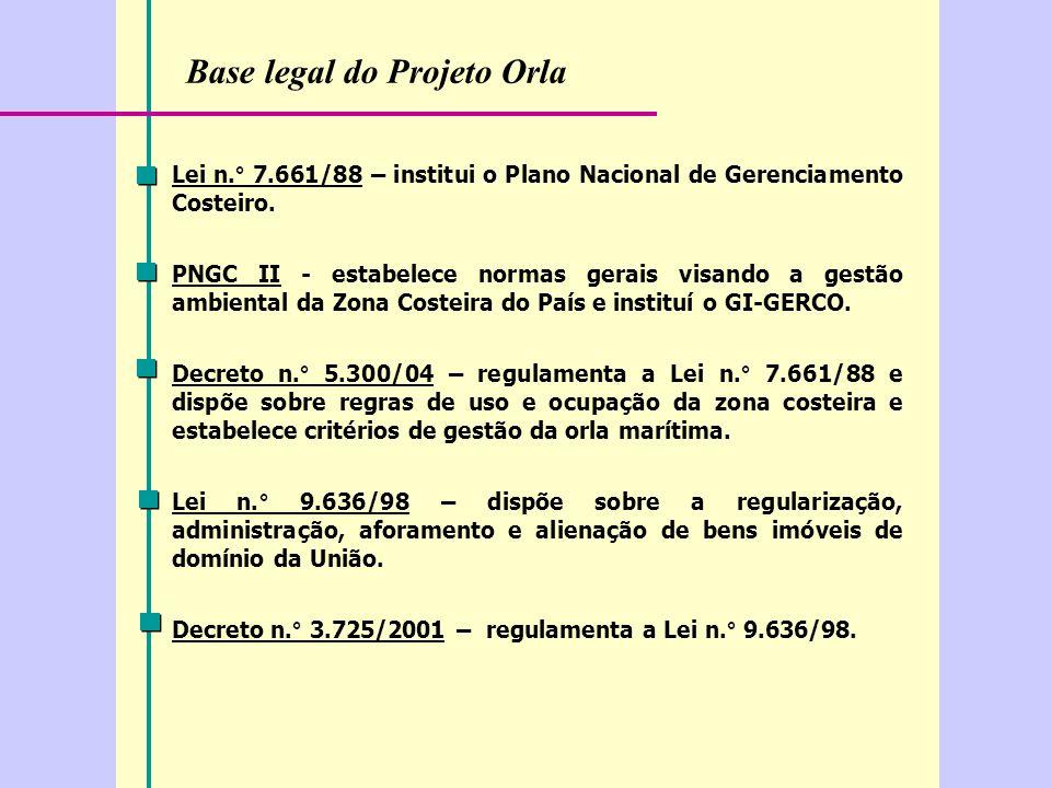 Base legal do Projeto Orla Lei n.° 7.661/88 – institui o Plano Nacional de Gerenciamento Costeiro.