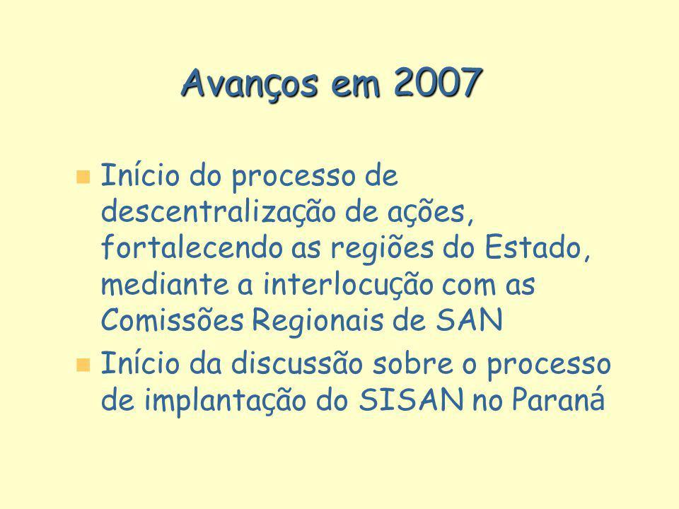 Avan ç os em 2007 In í cio do processo de descentraliza ç ão de a ç ões, fortalecendo as regiões do Estado, mediante a interlocu ç ão com as Comissões