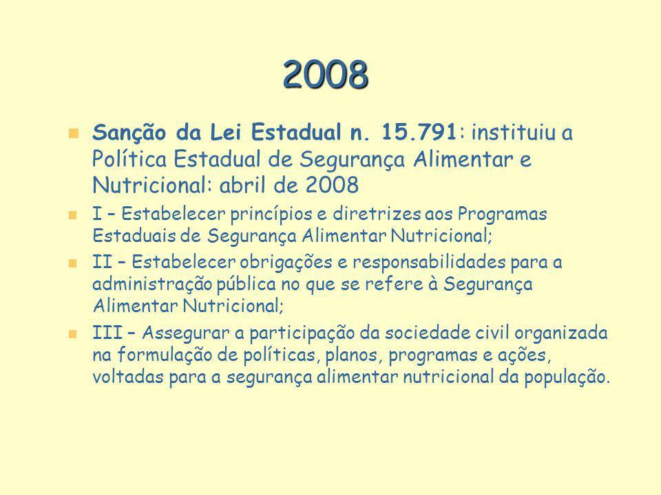 n n Sanção da Lei Estadual n. 15.791: instituiu a Política Estadual de Segurança Alimentar e Nutricional: abril de 2008 n n I – Estabelecer princípios
