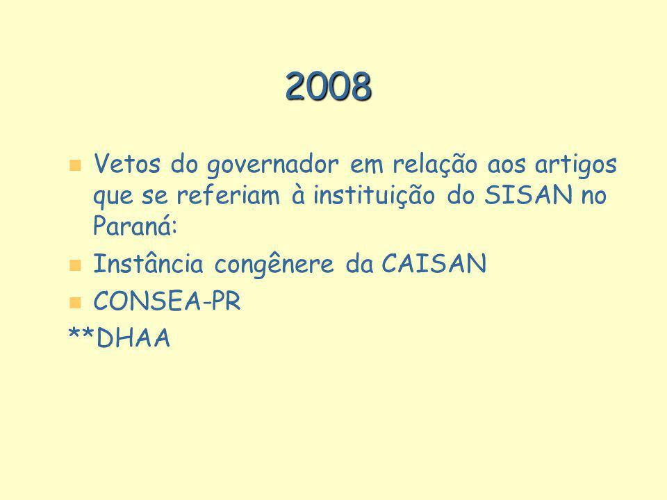 n n Vetos do governador em relação aos artigos que se referiam à instituição do SISAN no Paraná: n n Instância congênere da CAISAN n n CONSEA-PR **DHA