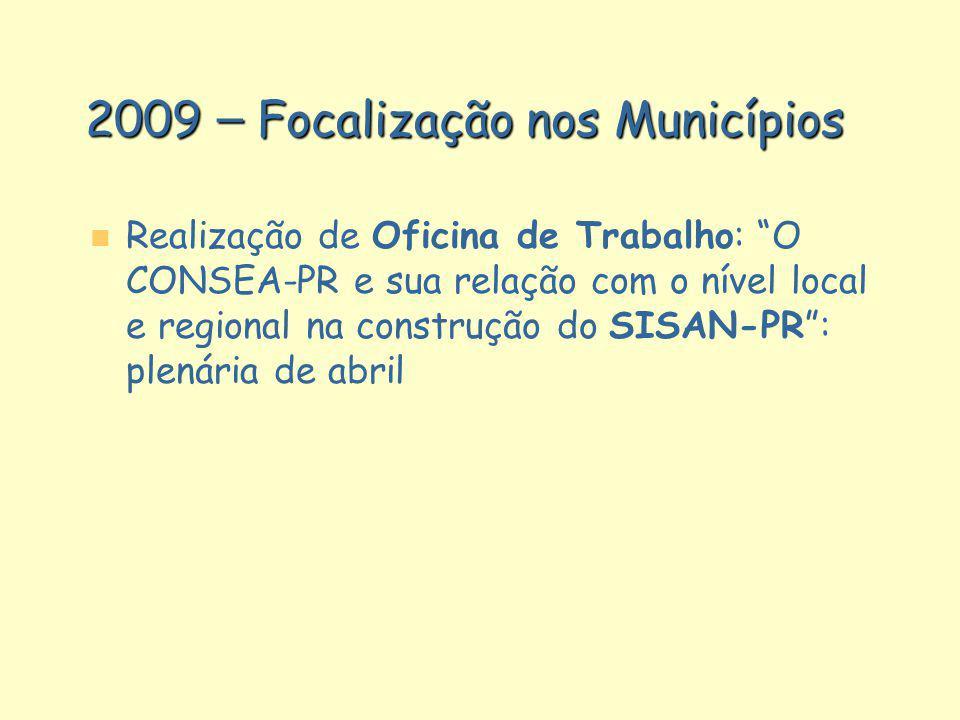 2009 – Focalização nos Municípios n n Realização de Oficina de Trabalho: O CONSEA-PR e sua relação com o nível local e regional na construção do SISAN