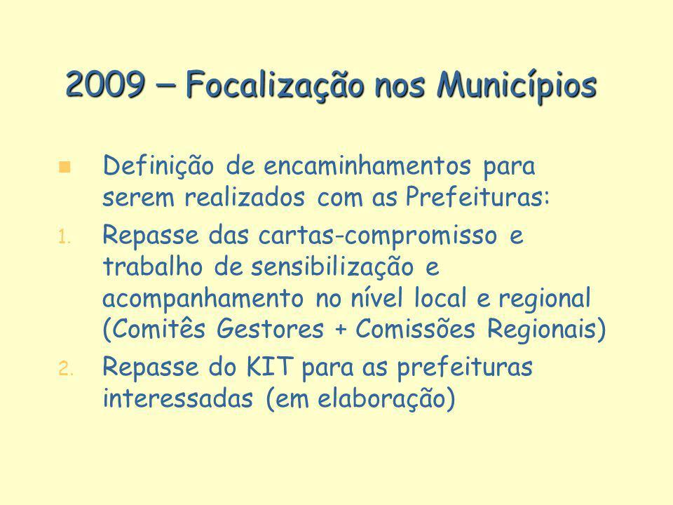 2009 – Focalização nos Municípios n n Definição de encaminhamentos para serem realizados com as Prefeituras: 1. 1. Repasse das cartas-compromisso e tr