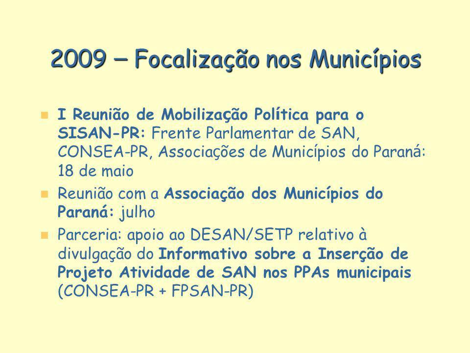 2009 – Focalização nos Municípios I Reunião de Mobiliza ç ão Pol í tica para o SISAN-PR: Frente Parlamentar de SAN, CONSEA-PR, Associa ç ões de Munic