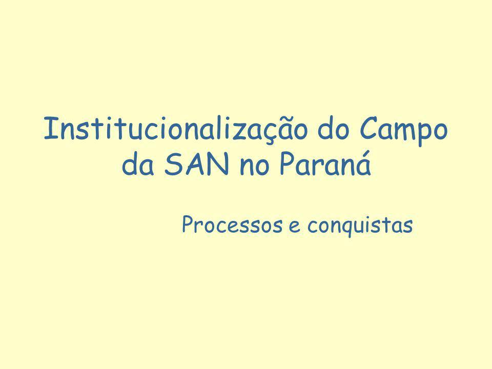 Institucionalização do Campo da SAN no Paraná Processos e conquistas