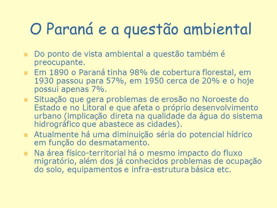 O Paraná e a questão ambiental n n Do ponto de vista ambiental a questão tamb é m é preocupante. n n Em 1890 o Paran á tinha 98% de cobertura floresta