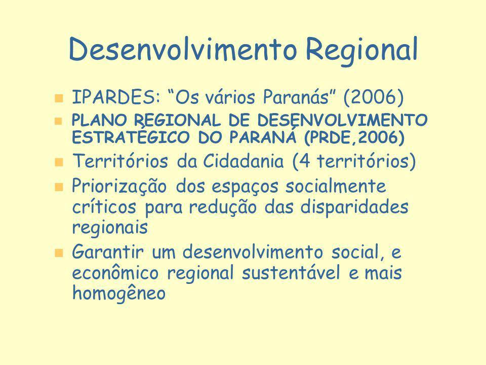 Desenvolvimento Regional n n IPARDES: Os vários Paranás (2006) n n PLANO REGIONAL DE DESENVOLVIMENTO ESTRATÉGICO DO PARANÁ (PRDE,2006) n n Territórios
