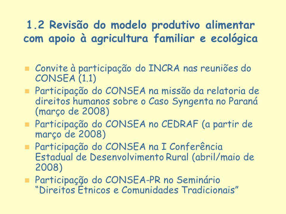 1.2 Revisão do modelo produtivo alimentar com apoio à agricultura familiar e ecológica n n Convite à participação do INCRA nas reuniões do CONSEA (1.1