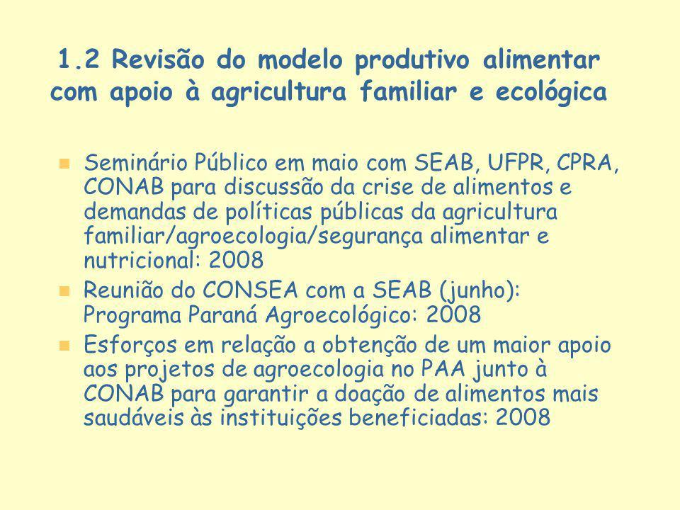 1.2 Revisão do modelo produtivo alimentar com apoio à agricultura familiar e ecológica n n Seminário Público em maio com SEAB, UFPR, CPRA, CONAB para