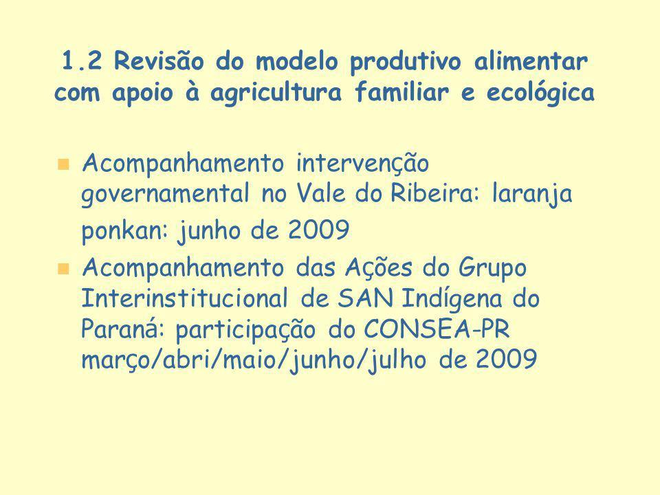 1.2 Revisão do modelo produtivo alimentar com apoio à agricultura familiar e ecológica Acompanhamento interven ç ão governamental no Vale do Ribeira: