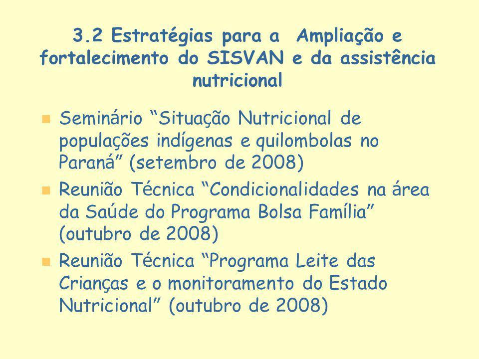 3.2 Estratégias para a Ampliação e fortalecimento do SISVAN e da assistência nutricional Semin á rio Situa ç ão Nutricional de popula ç ões ind í gena