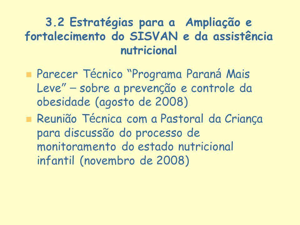 3.2 Estratégias para a Ampliação e fortalecimento do SISVAN e da assistência nutricional Parecer T é cnico Programa Paran á Mais Leve – sobre a preven