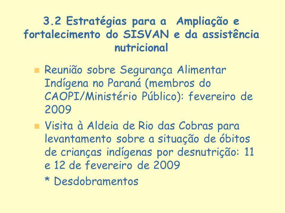 3.2 Estratégias para a Ampliação e fortalecimento do SISVAN e da assistência nutricional n n Reunião sobre Segurança Alimentar Indígena no Paraná (mem