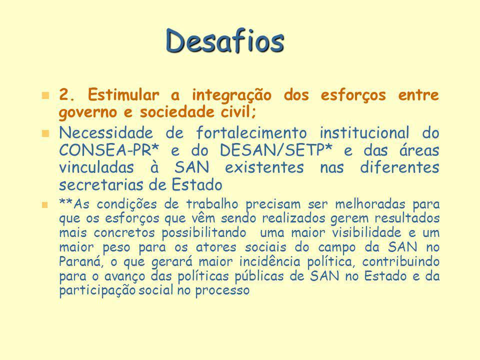Desafios n n 2. Estimular a integração dos esforços entre governo e sociedade civil; n n Necessidade de fortalecimento institucional do CONSEA-PR* e d