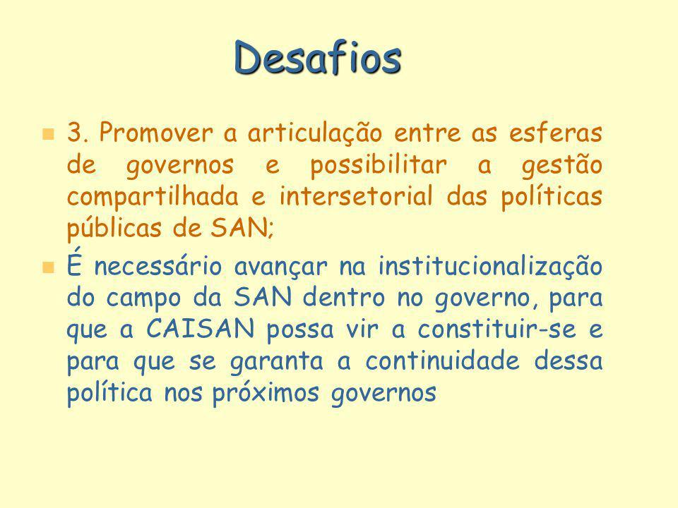 Desafios n n 3. Promover a articulação entre as esferas de governos e possibilitar a gestão compartilhada e intersetorial das políticas públicas de SA