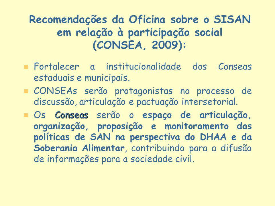 Recomendações da Oficina sobre o SISAN em relação à participação social (CONSEA, 2009): n n Fortalecer a institucionalidade dos Conseas estaduais e mu