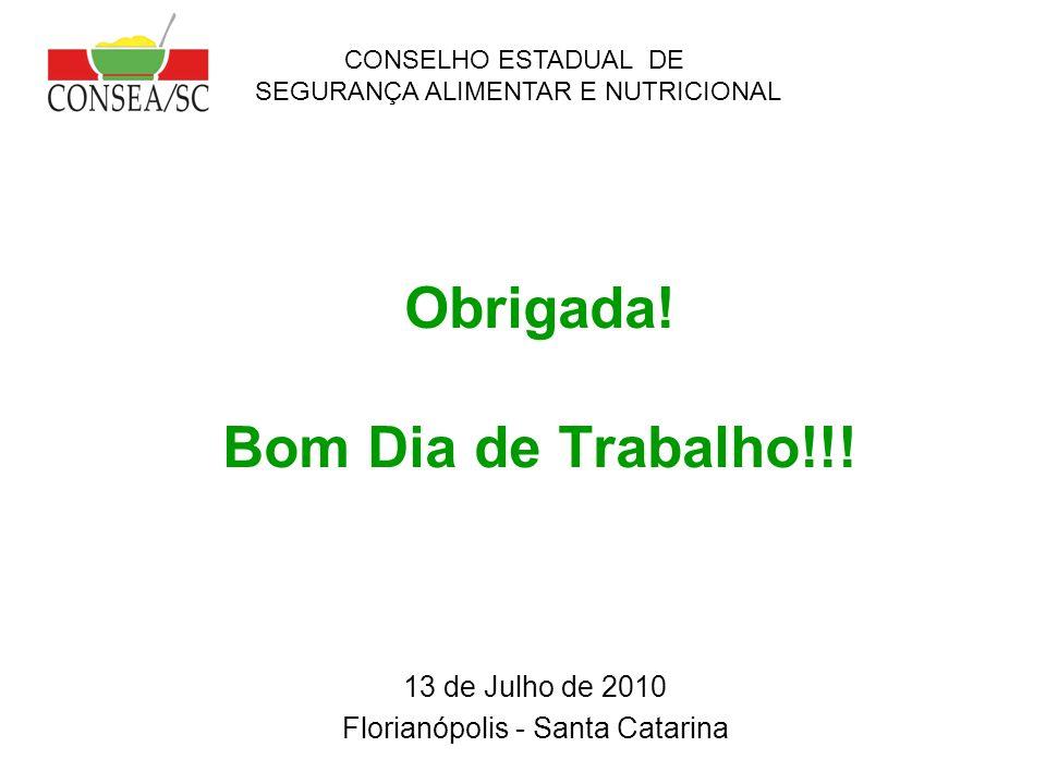 Obrigada! Bom Dia de Trabalho!!! 13 de Julho de 2010 Florianópolis - Santa Catarina CONSELHO ESTADUAL DE SEGURANÇA ALIMENTAR E NUTRICIONAL