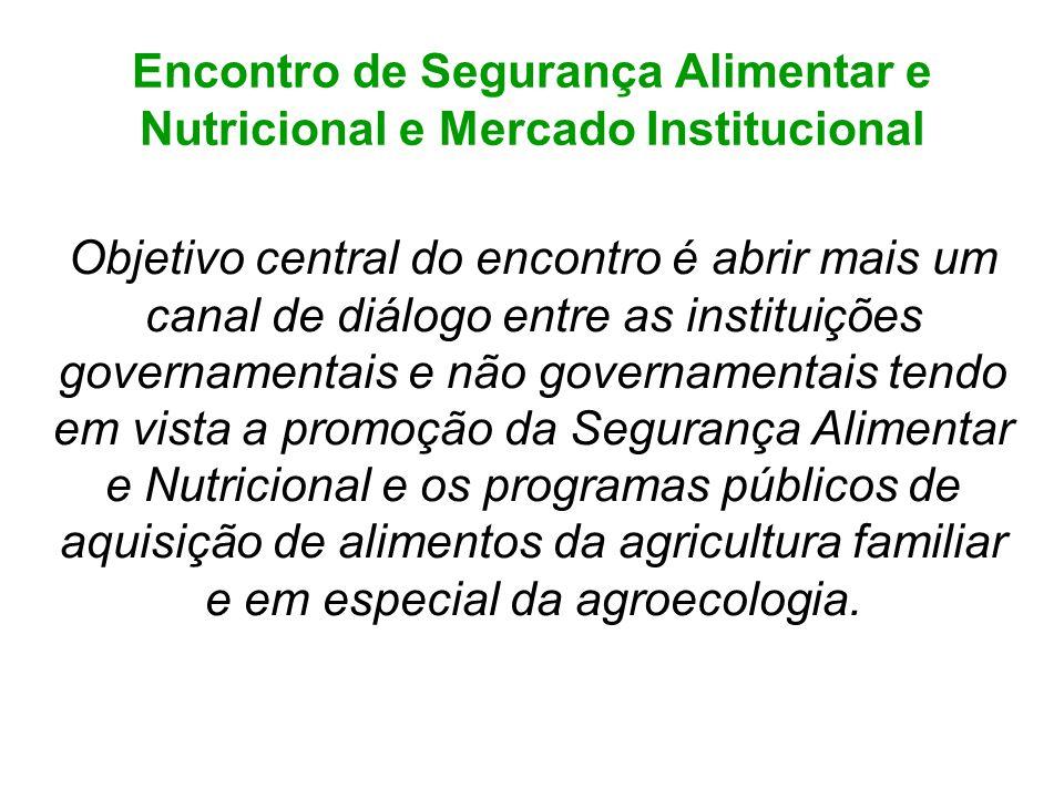 Encontro de Segurança Alimentar e Nutricional e Mercado Institucional Objetivo central do encontro é abrir mais um canal de diálogo entre as instituiç