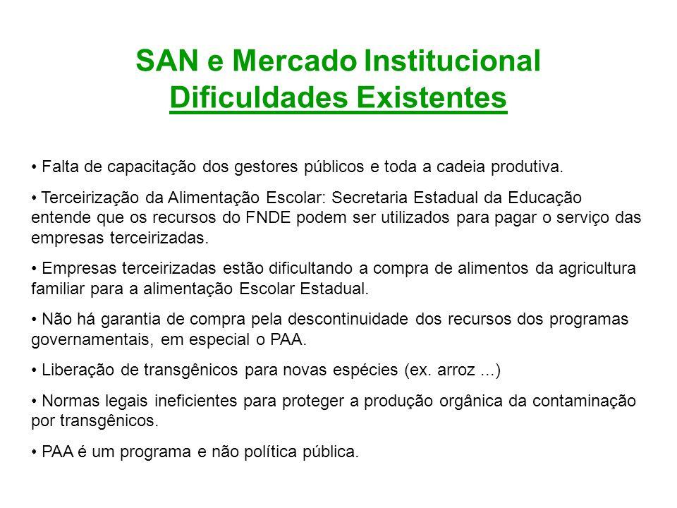 SAN e Mercado Institucional Dificuldades Existentes Falta de capacitação dos gestores públicos e toda a cadeia produtiva. Terceirização da Alimentação