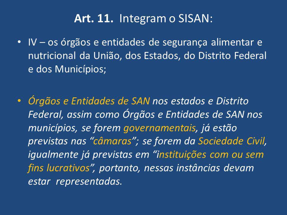 Art. 11. Integram o SISAN: IV – os órgãos e entidades de segurança alimentar e nutricional da União, dos Estados, do Distrito Federal e dos Municípios