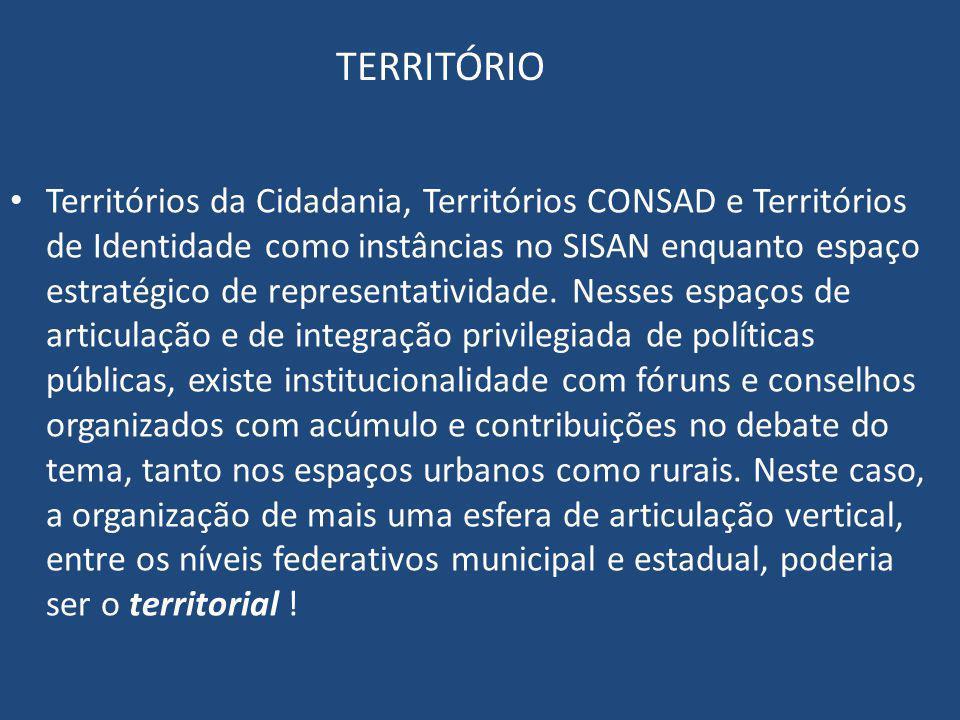 TERRITÓRIO Territórios da Cidadania, Territórios CONSAD e Territórios de Identidade como instâncias no SISAN enquanto espaço estratégico de representa