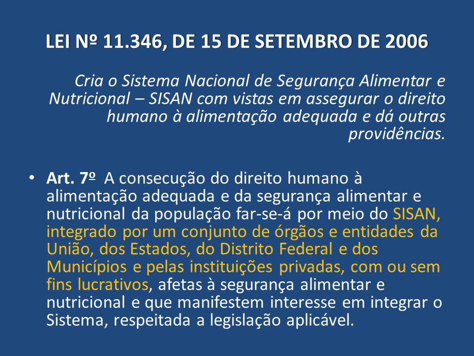 LEI Nº 11.346, DE 15 DE SETEMBRO DE 2006LEI Nº 11.346, DE 15 DE SETEMBRO DE 2006 Cria o Sistema Nacional de Segurança Alimentar e Nutricional – SISAN com vistas em assegurar o direito humano à alimentação adequada e dá outras providências.