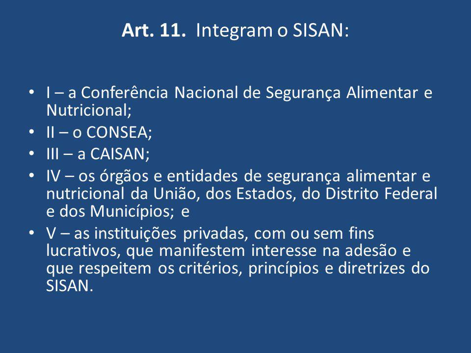 Art. 11. Integram o SISAN: I – a Conferência Nacional de Segurança Alimentar e Nutricional; II – o CONSEA; III – a CAISAN; IV – os órgãos e entidades