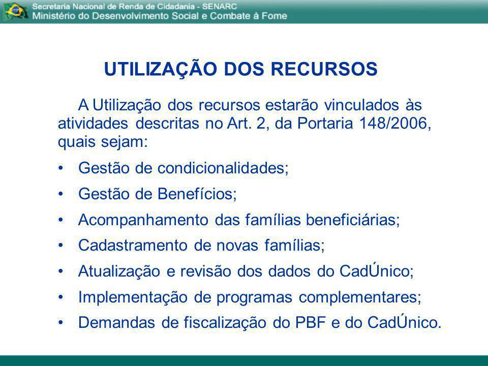 UTILIZAÇÃO DOS RECURSOS A Utilização dos recursos estarão vinculados às atividades descritas no Art. 2, da Portaria 148/2006, quais sejam: Gestão de c