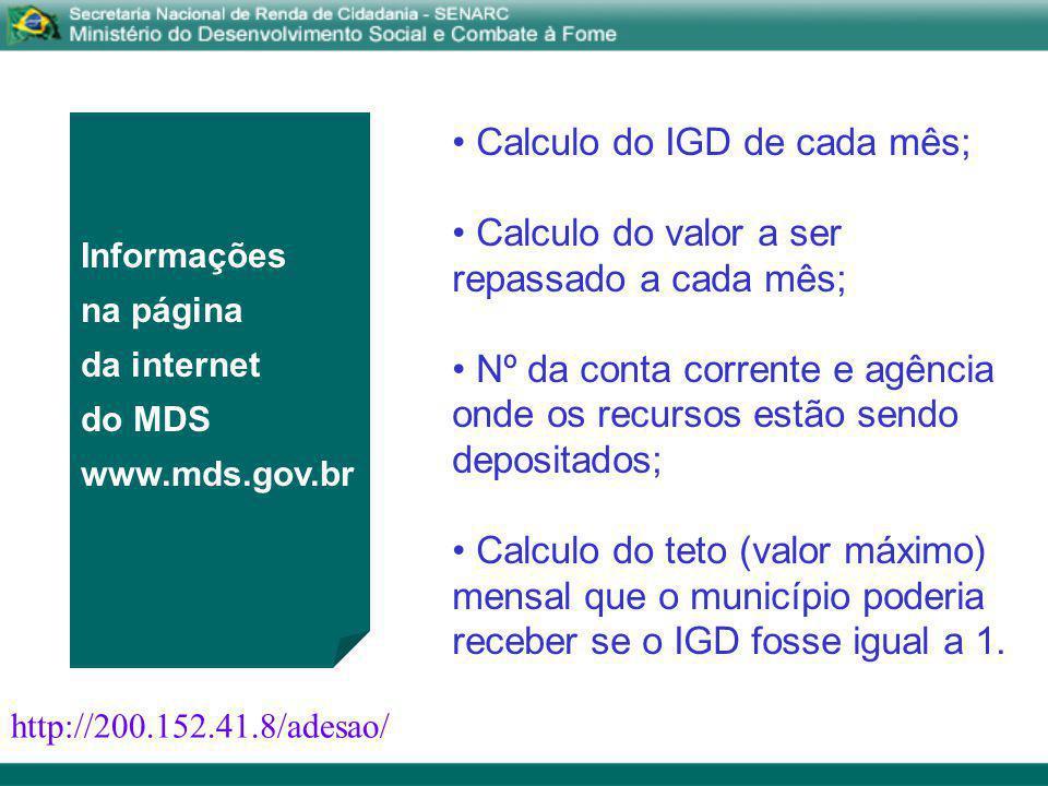 Calculo do IGD de cada mês; Calculo do valor a ser repassado a cada mês; Nº da conta corrente e agência onde os recursos estão sendo depositados; Calc