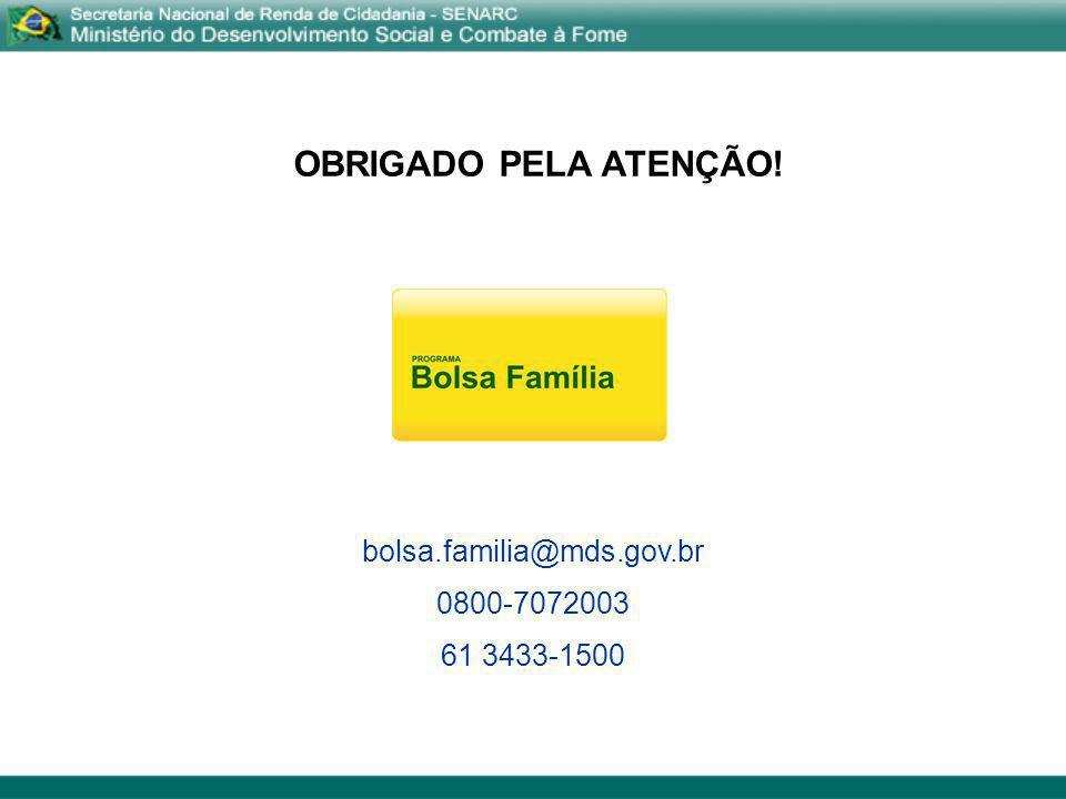 OBRIGADO PELA ATENÇÃO! bolsa.familia@mds.gov.br 0800-7072003 61 3433-1500