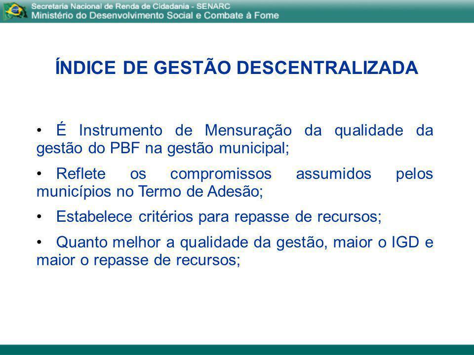 ÍNDICE DE GESTÃO DESCENTRALIZADA É Instrumento de Mensuração da qualidade da gestão do PBF na gestão municipal; Reflete os compromissos assumidos pelo