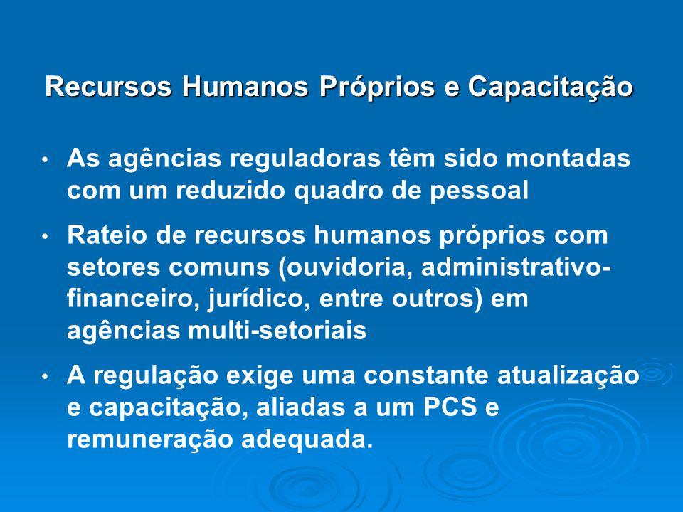 As agências reguladoras têm sido montadas com um reduzido quadro de pessoal Rateio de recursos humanos próprios com setores comuns (ouvidoria, adminis