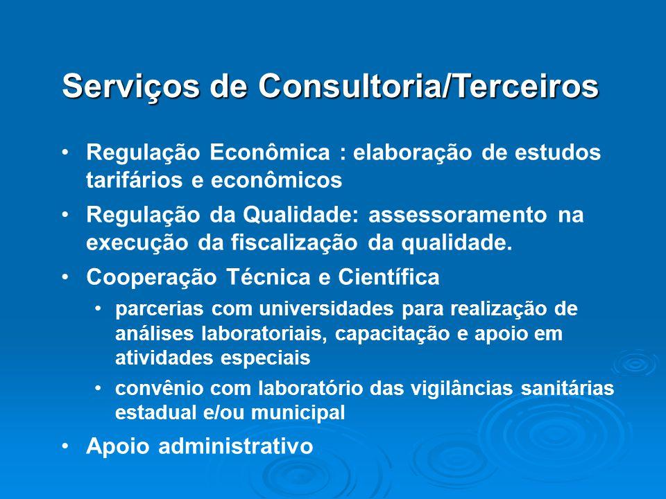 Regulação Econômica : elaboração de estudos tarifários e econômicos Regulação da Qualidade: assessoramento na execução da fiscalização da qualidade. C