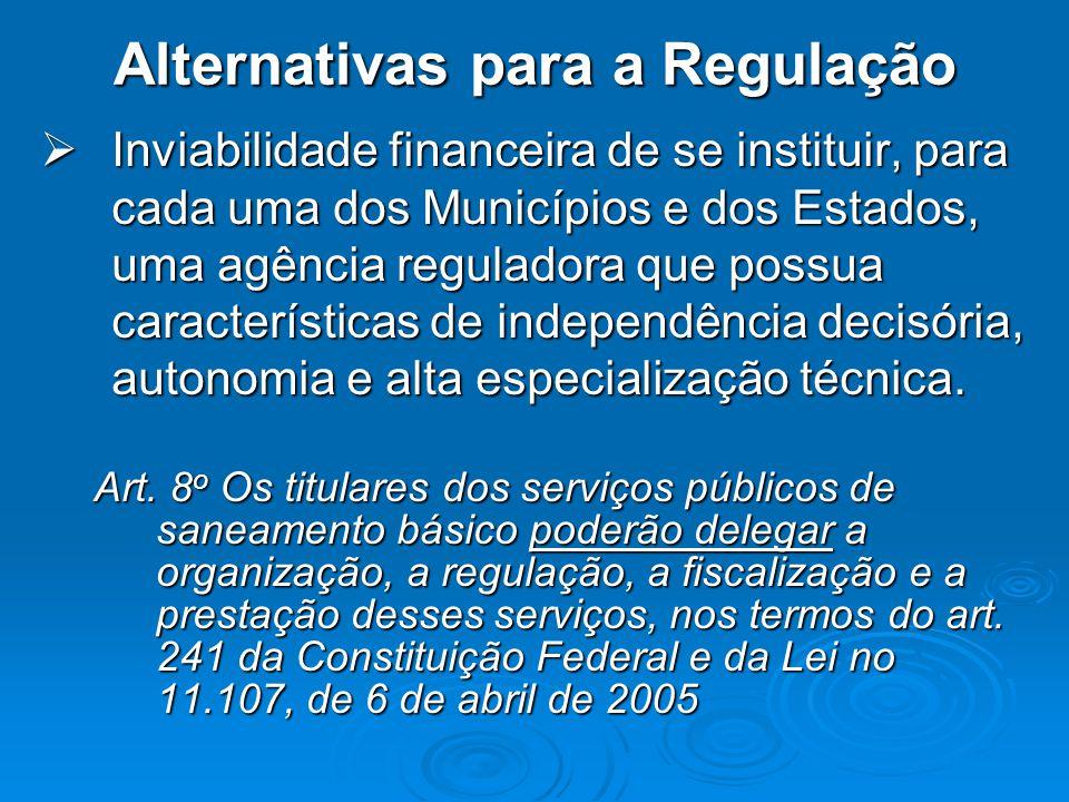 Alternativas para a Regulação Inviabilidade financeira de se instituir, para cada uma dos Municípios e dos Estados, uma agência reguladora que possua