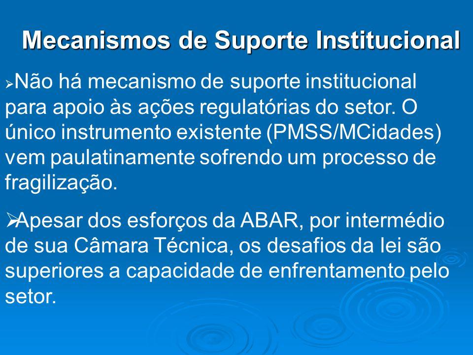 Mecanismos de Suporte Institucional Não há mecanismo de suporte institucional para apoio às ações regulatórias do setor. O único instrumento existente