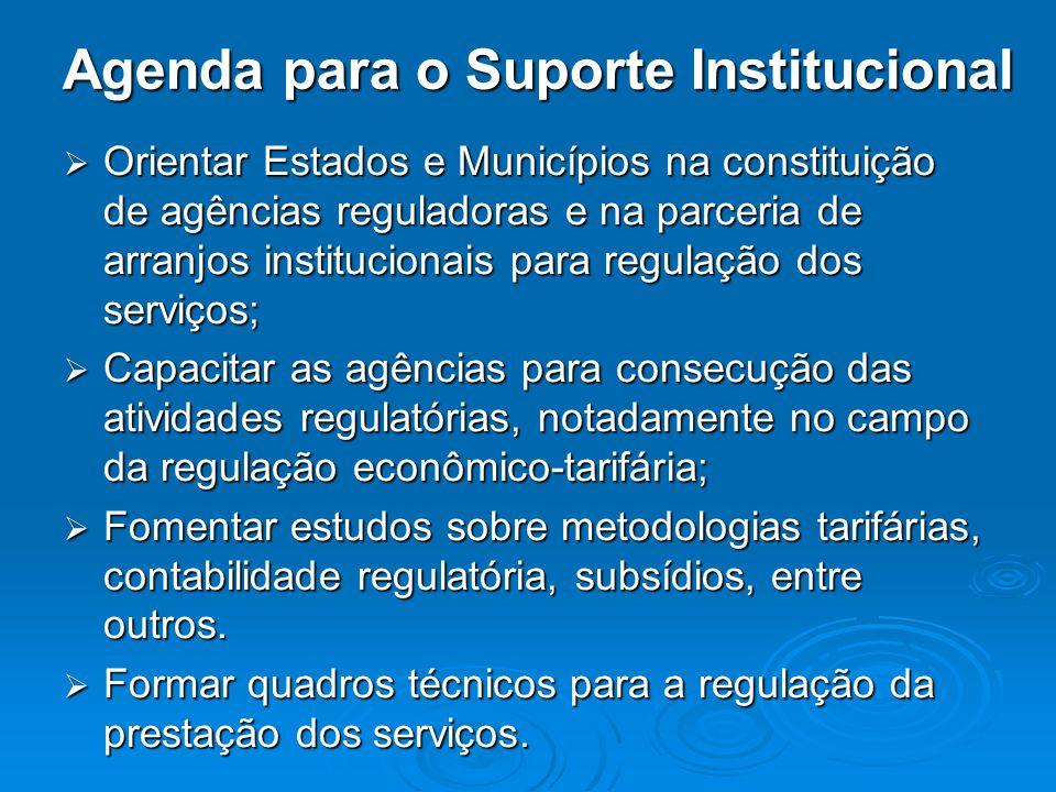 Agenda para o Suporte Institucional Orientar Estados e Municípios na constituição de agências reguladoras e na parceria de arranjos institucionais par