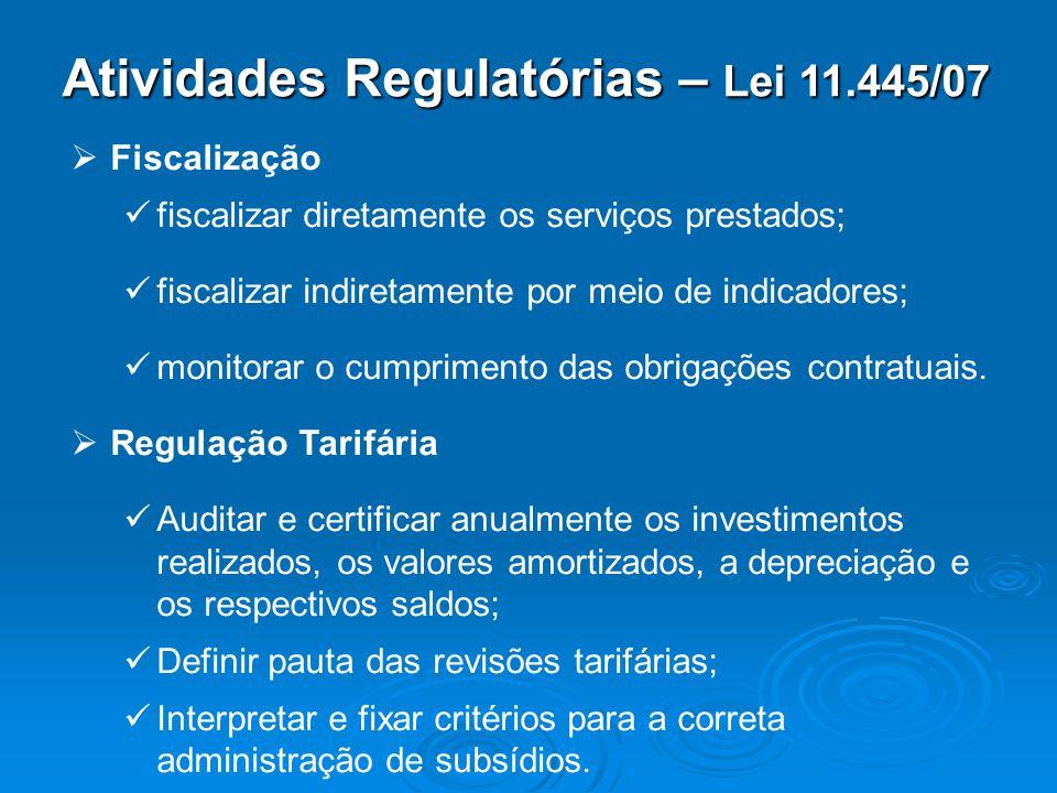 Atividades Regulatórias – Lei 11.445/07 Fiscalização fiscalizar diretamente os serviços prestados; fiscalizar indiretamente por meio de indicadores; m