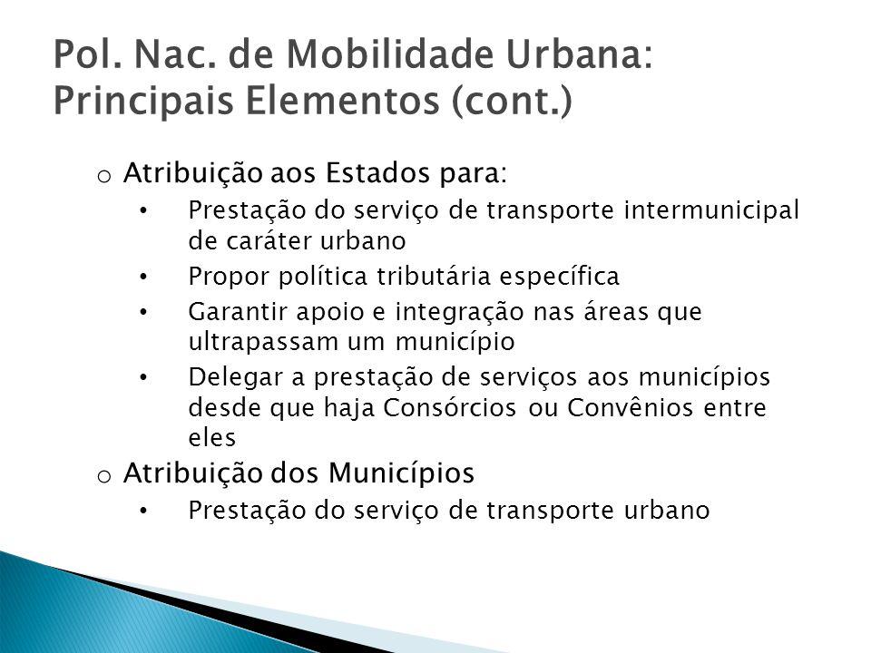 Pol. Nac. de Mobilidade Urbana: Principais Elementos (cont.) o Atribuição aos Estados para: Prestação do serviço de transporte intermunicipal de carát