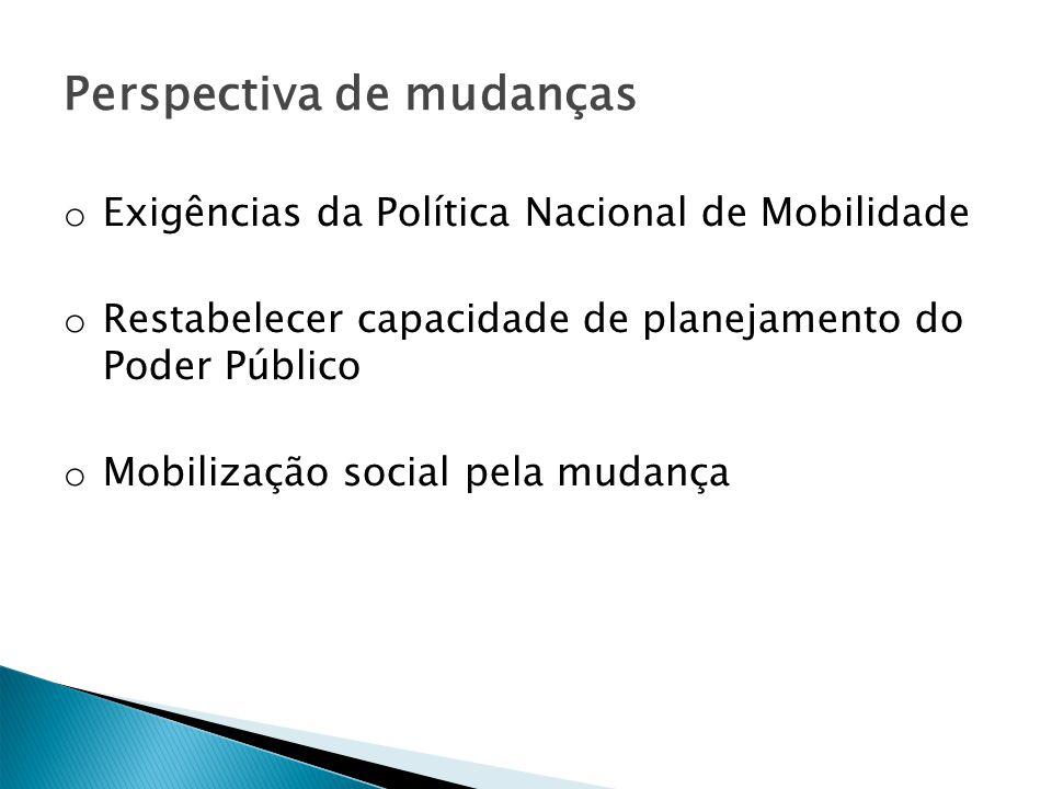 Perspectiva de mudanças o Exigências da Política Nacional de Mobilidade o Restabelecer capacidade de planejamento do Poder Público o Mobilização socia